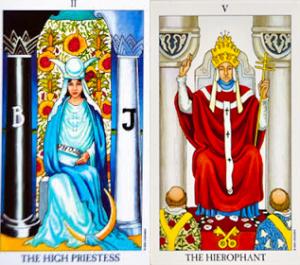 highpriestess-Hierofant-tarotové karty-