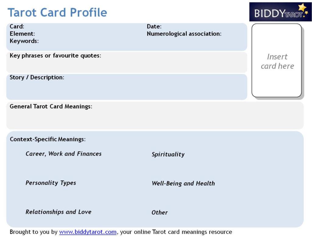Rapidly Deepen Your Tarot Knowledge With Tarot Card Profiles - Tarot card template
