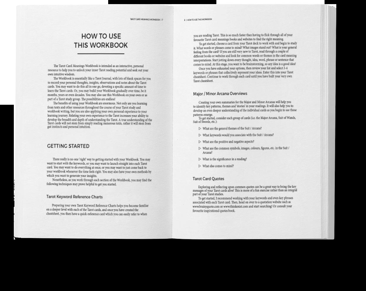 Workbooks workbook com : Tarot Card Meanings Workbook | Biddy Tarot