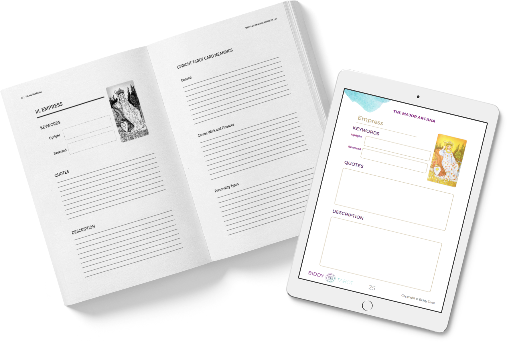 In the Tarot Card Meanings Workbook, you'll be guided to create your very  own descriptions for the Tarot cards.