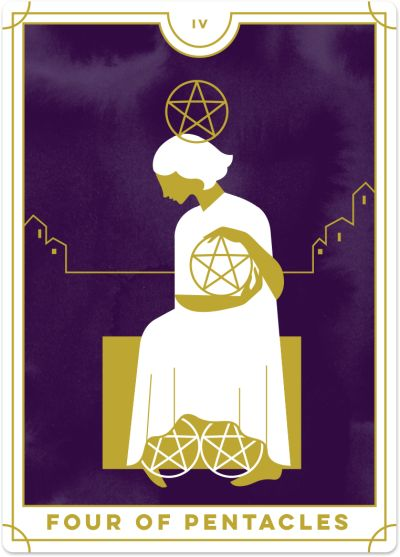 image relating to Printable Tarot Cards With Meanings referred to as 4 of Pentacles Tarot Card Meanings Biddy Tarot