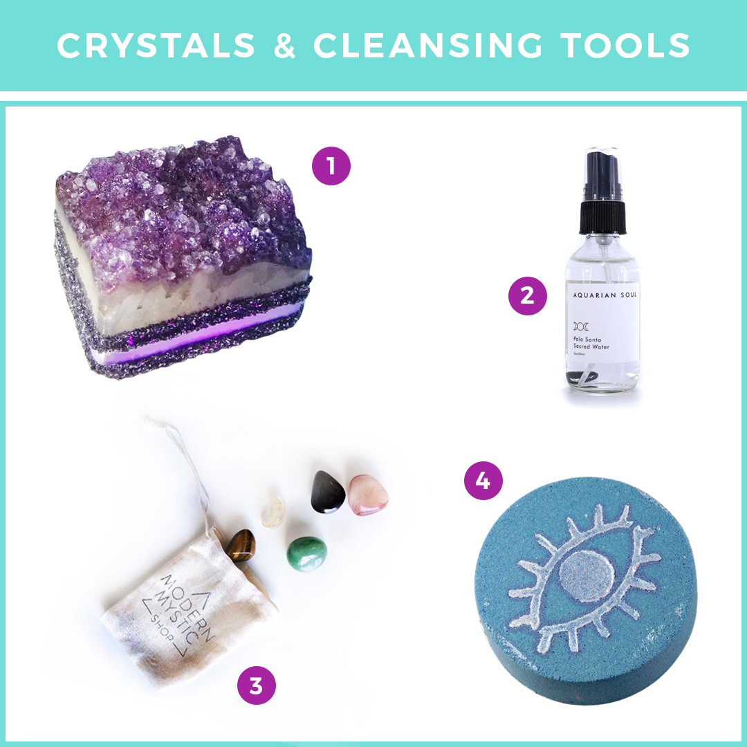 Crystals and Cleansing Tools
