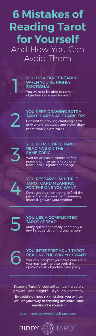 6 Mistakes of Reading Tarot for Yourself and How to Avoid Them | Biddy Tarot