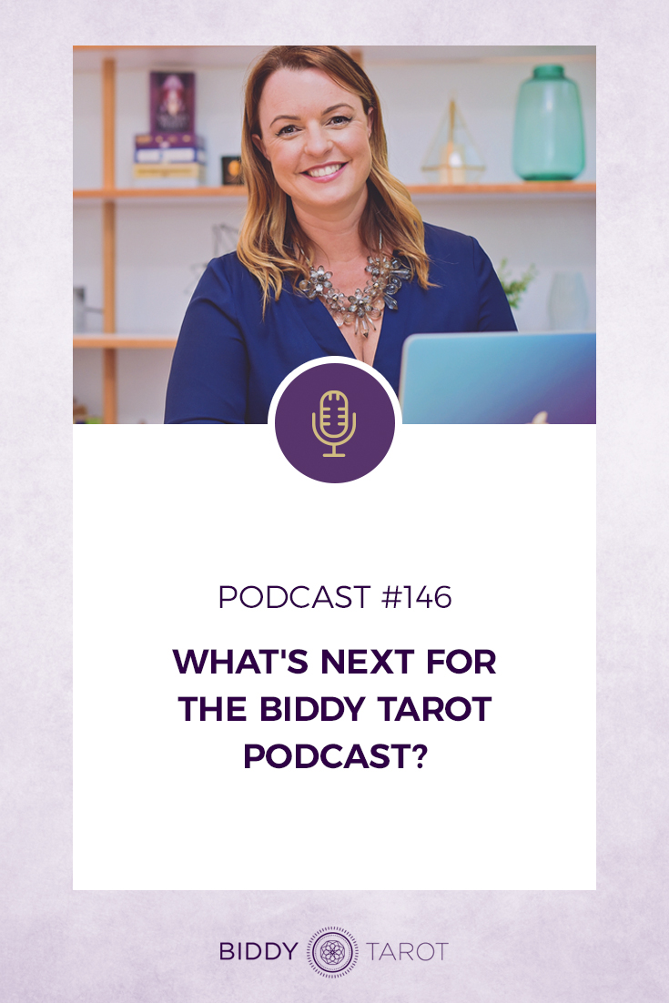 What's Next for the Biddy Tarot Podcast | Brigit Esselmont with her laptop | Biddy Tarot