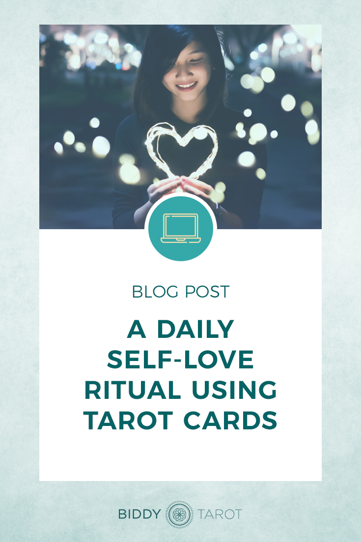 Daily Self Love Ritual Using Tarot Cards | Biddy Tarot | Woman Holding Heart made of lights