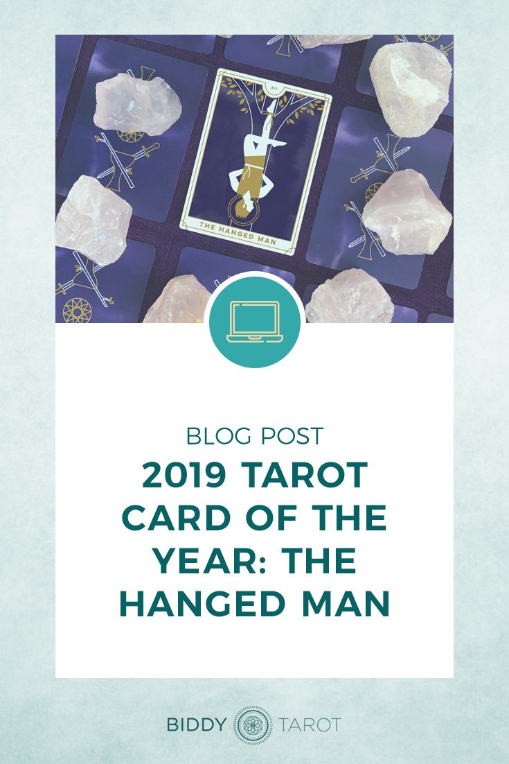 2019 Tarot Card the Year of the Hanged Man | Everyday Tarot Deck pictured with Clear Quartz Crystal | Biddy Tarot Blog