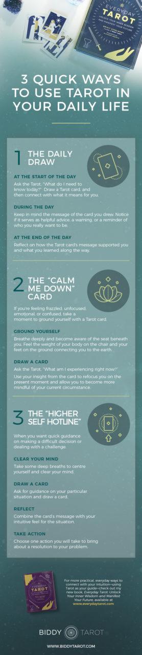 3 Quick Ways to Use Tarot in Your Daily Life | Biddy Tarot | Everyday Tarot Deck and Book