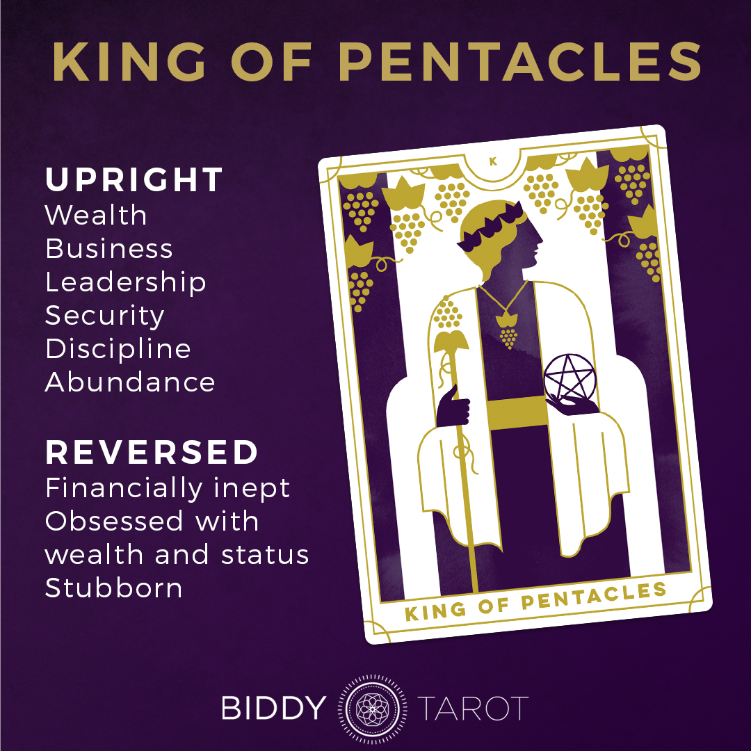 King Of Pentacles Tarot Card Meanings Biddy Tarot Lack/abuse of generosity, abuse of power or position, gifts with. king of pentacles tarot card meanings
