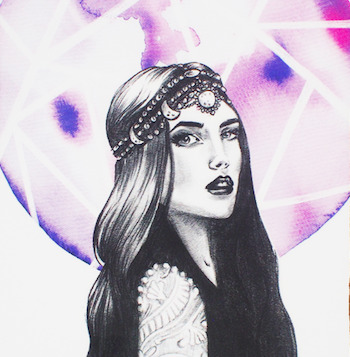 Image of a long-haired woman in front of a purple circle. The Moon card in the Lumina Tarot deck.