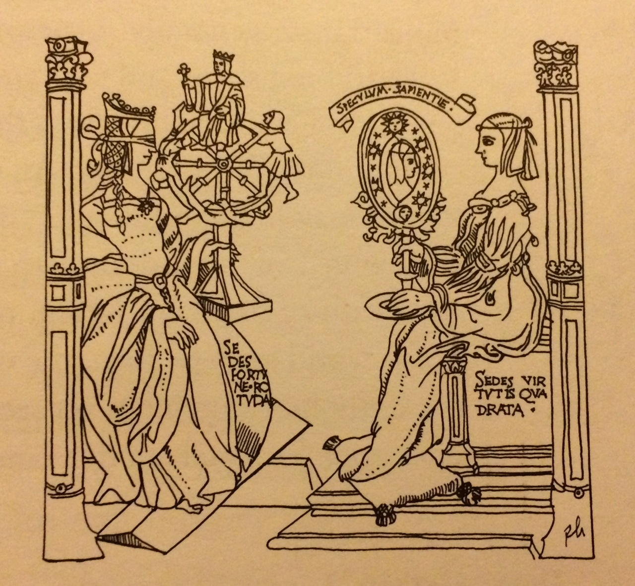 Dame Fortune pictured with here wheel opposite Dame Wisdom, holding a mirror. This comes from a sixteenth-century French engraving.